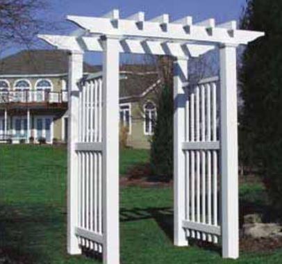 Bufftech Vineyard pergola vinyl arbor - Bufftech Vineyard Pergola Arbor - By Discount Fence Supply, Inc