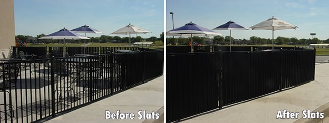 aluminum fence privacy slats before and after