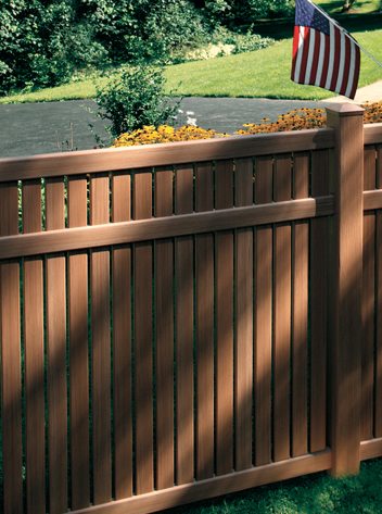 Brown vinyl privacy fence Synthetic Wood Imperial Semi Privacy Vinyl Fence With Cedar Texture Lowes Vinyl Fence By Bufftech The Largest Supplier Of Vinyl Fencing