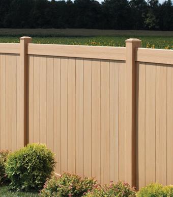 Honey Blend Chesterfield Certagrain Vinyl Fence