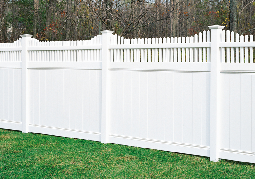 Chesterfield with huntington accent vinyl fence by