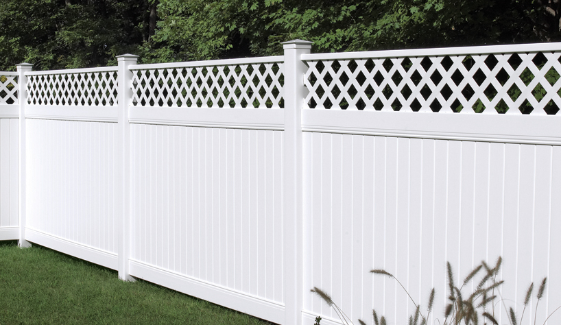new lexington vinyl fence with lattice accent by bufftech discount fence supply inc