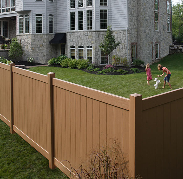 Autumn Brown Chesterfield Certagrain Vinyl Fence
